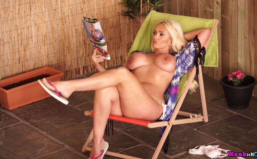 Photo gallery of MILF next door Lucy Zara masturbating in her garden